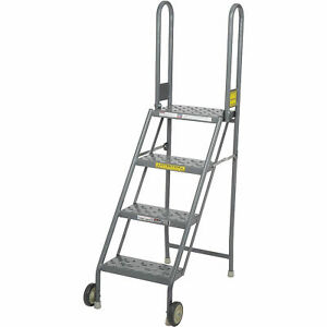 Tri Arc Kdmf104166 4 Step Folding Rolling Ladder Stand Perforated Tread