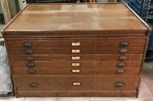 Antique 6 Drawer Wood Map Plans Chest Cabinet Dresser Great Shape Local Pick Up