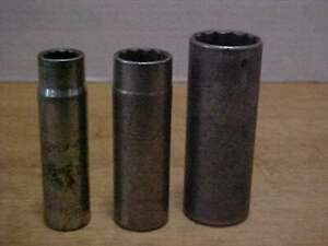 3 Vintage Snap on 12 point 1 2 Drive Deep well Sockets 1 3 4 9 16