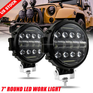 2x 7 Inch Round Off Road Drl Led Work Lights For Jeep Bumper Truck Boat 4wd 200w