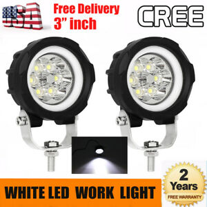 3 Inch Round Led Work Light Bar White Drl Spot Lamp Off Road Driving Fog Light