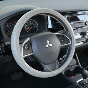 Gray Steering Wheel Cover Non Slip Leather Sports Grip Universal Fit 14 5 15 5
