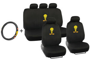 Tweety Bird 3 Pc Seat Cover Steering Wheel Cover Combo Holiday Gift Set Pack