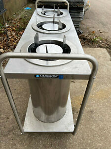 Lakeside Open Base Stainless Steel Adjust a fit Tree Stack Plate Dispenser Cart