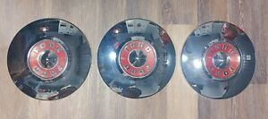 3 0riginal 1955 1956 Ford Dog Dish Hubcaps Wheel Covers