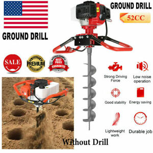 New 2 5hp 52cc Gas Powered Post Hole Digger 2 cycle Earth Auger Power Engine Us