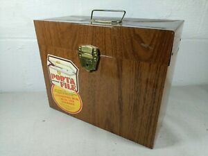 Vintage Porta file Metal Locking File Box W Key