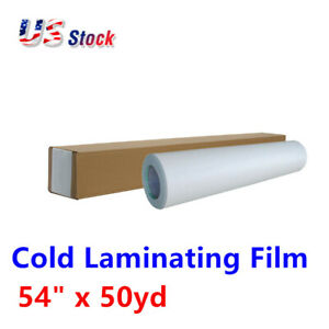 54 x50yd Roll Satin Cold Laminating Film monomeric 3 15 Mil Paper Adhesive Glue