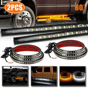 2x 60 Running Board Led Light Side Step Strip Bar White Amber Turn Signal Truck