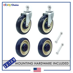 Shopping Cart Wheels Replacement Grocery Kit 4 pack W Hardware 5 Casters