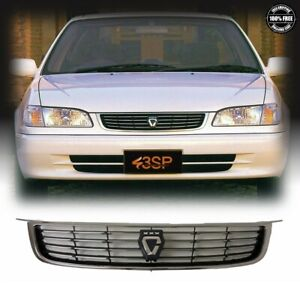 Fits 98 02 For Toyota Corolla Jdm Ae110 Chrome Black Front Upper Grille W logo