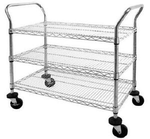 Mobile Wire Shelving Utility Cart With Wheels Maximum Capacity