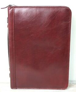 7 5 x10 75 Brown Burgundy Real Leather Top Handle Zip Planner Paper Organizer
