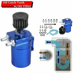 Universal Oil Catch Reservoir Breather Can Tank With Filter Kit Cylinder Blue