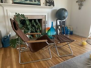 Mid Century Shigeru Uchida Z Folding Lounge Chair Ottoman Chrome Canvas Wood