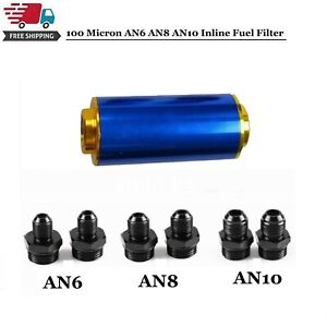 100 Micron Inline Fuel Filter High Flow Cleanable Stainless Steel An6 An8 An10