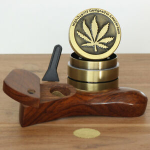 Curved L2 Hand Crafted Smoking Pipe Premium Wood Pipe 4 Piece Grinder
