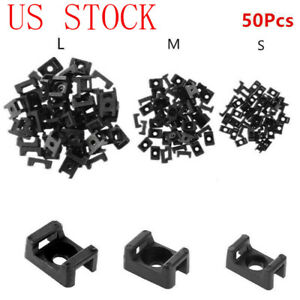50 Screw Cable Tie Mount Base Cord Wire Hole Saddle shaped Clamp Fixing Holder
