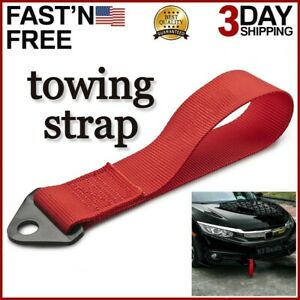 Racing Car Tow Towing Strap Belt Rope Rally Hook Universal Rear Front Bumper Red