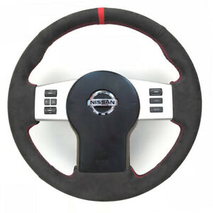 All Black Suede Leather Steering Wheel Stitch On Wrap Cover For Nissan Frontier