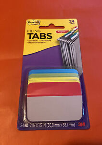 Post it Filing Tabs Angled Durable Writable Repositionable 24 Tabs