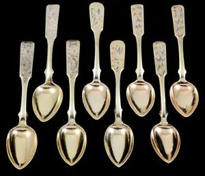 8 Finest Quality Antique 1840 44 Gilded Niello Enamel Russian Silver Spoons