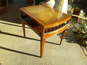 Vintage Mid Century Weiman Heirloom Accent Table Leather Top High End Home Decor
