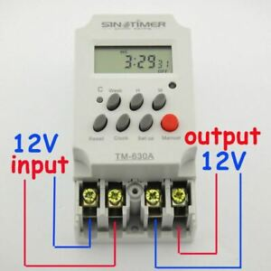 12v Dc Input 7 Days Programmable 24hrs Mini Timer Switch Time Relay Output Load