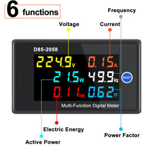 Digital Lcd Ac Panel Meter Voltage Amps Frequency Energy Power 40 300v 0 100a