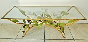 Antique Vtg Italian Tole Metal Flower Glass Top Italy Toleware Coffee Table