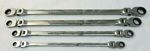 Snap On 4pc 12 Pt Fractional Flank Drive Double Flex Ratcheting Box Wrench Sae