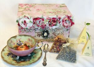Vintage Still Life 3 Legged Japanese Teacup Saucer Gift Set W Lots Of Extras