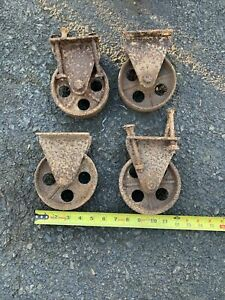 5 Cast Iron Wheels Industrial Factory Cart Table Steampunk Lot Of 4