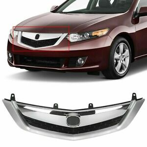 Fit For 2009 2010 Acura Tsx Front Upper Grille Grill Mesh Cover Chrome Molding