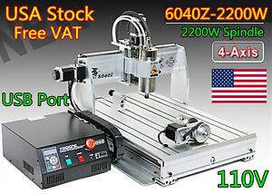 usa 4 Axis 6040z 2200w 2 2kw Er20 Cnc Router Mill Drill Engraving Machine 110v