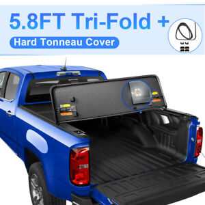 5 8ft Hard Tonneau Cover For 2009 2019 Ram 1500 Truck Bed Tri fold W Lamp
