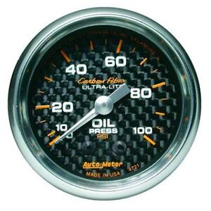 Autometer Carbon Fiber 52mm 100 Psi Mechanical Oil Pressure Gauge