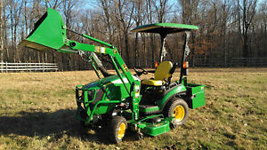 John Deere 1025r Compact Utility Tractor With H 120 Loader Mower Ballast Box