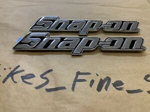 Last Set Two Snap On Original Chrome Steel Epiq Large Toolbox Logo Nameplate