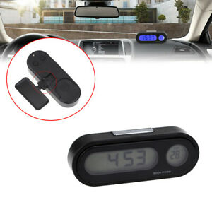Auto Car Digital Lcd Electronic Time Clock Thermometer Watch With Backlamp 12v