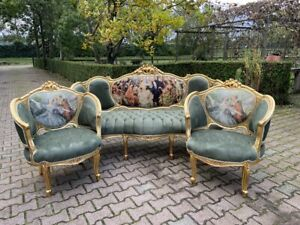 French Louis Xvi Sofa Settee Couch Set With 2 Chairs Worldwide Shipping