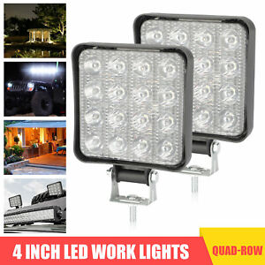 2x 4inch 96w Led Work Light Bar Flood Pods Offroad Fog Lamp 4wd Pickup Atv Truck