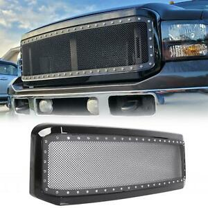 For 2005 2007 Ford F250 F350 Super Duty Gloss Steel Mesh Rivet Grille Shell
