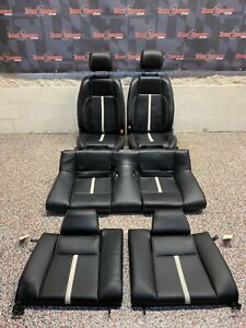 2014 Ford Mustang Gt Oem Black Leather W White Stripe Front Rear Seats