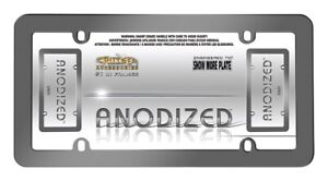 Anodized Grey Metal License Plate Frame