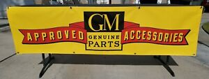 Vintage Gm Approved Accessories Logo Vinyl Table Banner Brand New 70 X 18 5