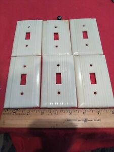 6 Vintage Retro Uniline Ribbed Single Toggle Wall Light Switch Plate Cover I 27
