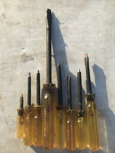 Vintage Cementex Insulated Tools Screwdrivers Phillips Head Flat 8pc Set