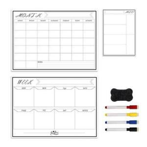 Erasable Magnetic White Board Kit Weekly Monthly Planner Calendar Wall Fridge