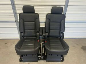 2015 2020 Escalade Esv Suburban Yukon 2nd Second Row Black Leather Bucket Seats